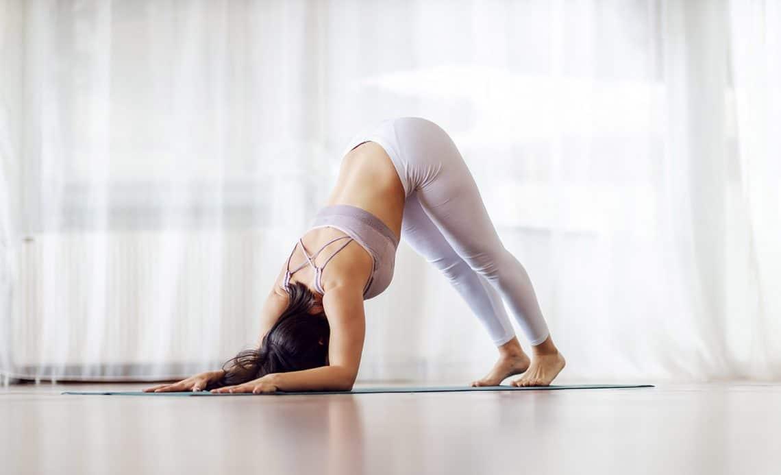 mujer practicando postura del delfin yoga